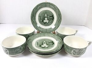 Old-Curiosity-Shop-Green-Royal-China-4-Cup-and-4-Saucer-Lot-of-8-pieces