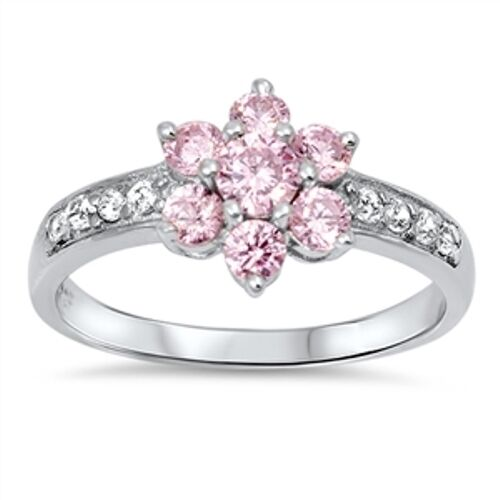 .925 Sterling Silver Plumeria Flower Pink Clear CZ Promise Ring Size 5-11 NEW