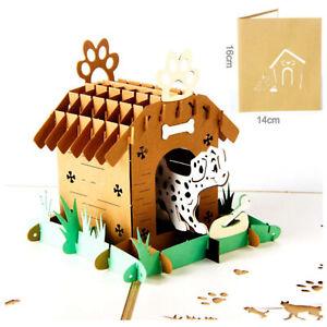 3D-Pop-Up-Greeting-Card-Birthday-Wedding-Valentine-039-s-Mother-Father-day-Dog-Nest