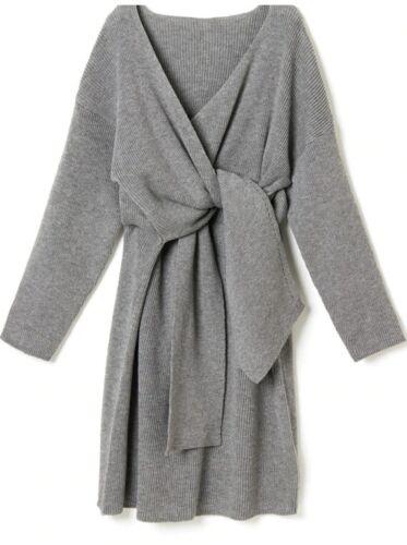 New Women/'s Belted Cashmere Blend Sweater Dress Full Long V Neck Knitted Dress