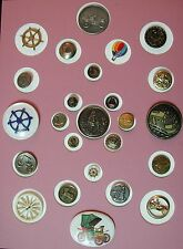 COOL COLLECTOR'S CARD OF 25 DIFFERENT TRANSPORTATION BUTTONS CARS TRAINS SHIPS