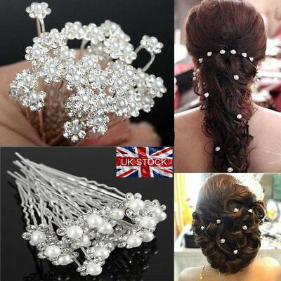 10 X Matrimonio Sposa Ballo Diamante Bianco E Perle Finte Fiore Capelli Pins Uk Comodo E Facile Da Indossare