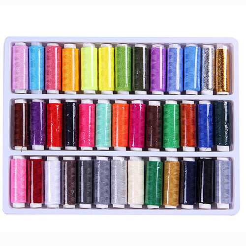 39Pcs Mixed Colors 100% Polyester Yarn Sewing Thread Machine Hand 200 Yard Well Crafts