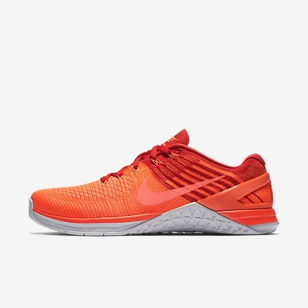 Nike Metcon DSX Flyknit Total Crimson Red Platinum orange Uk Size 8.5 852930-800