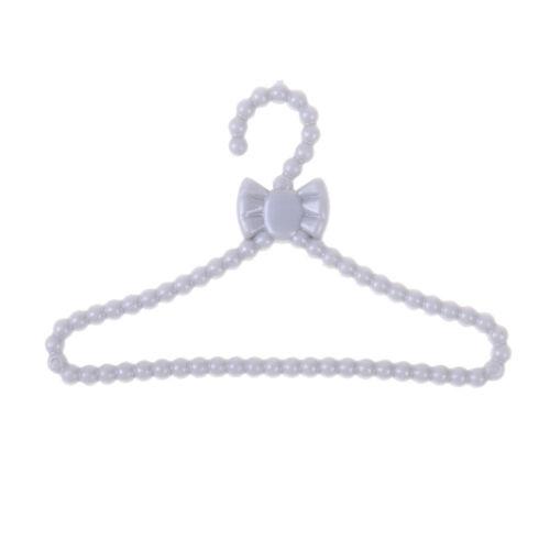 20pcs mini gray hangers bowknot design dollhouse dress clothes accessories#V