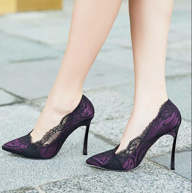 Women's Lace Pointy Toe High Heels Stiletto shoes Party Wedding Elegant Mesh