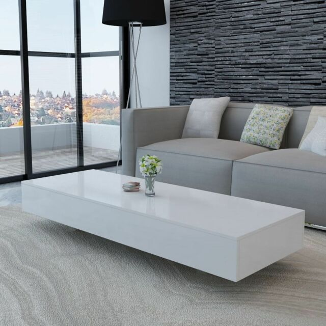 High Gloss Coffee Table 115cm White Side End Square Furniture Living Room R2A3
