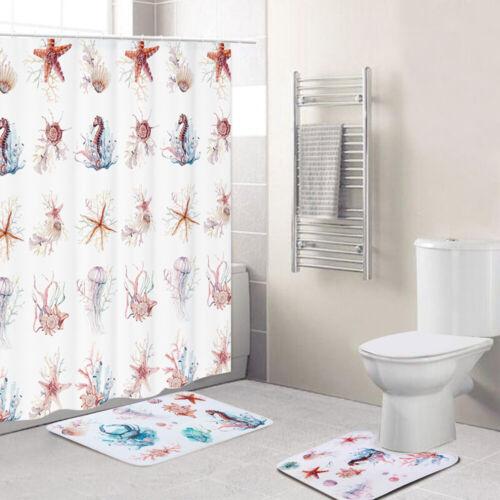 3Pc Nature Print Complete Bathroom Rug Set Shower Curtain Contour Rug Bath Mat