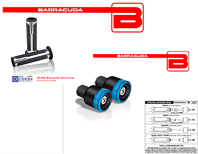 Focoso Barracuda Manopole Argento + Contrappesi Blu Blux Per Tutte Le Moto Honda