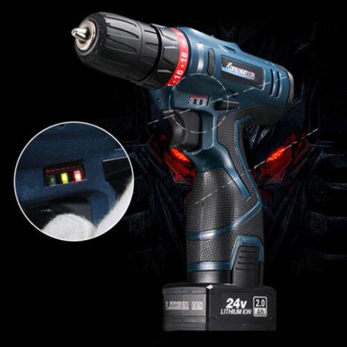 24V Li-Ion Cordless Electric Drill LED Driver Screwdriver 2 Speed 0-1350 R//MIN