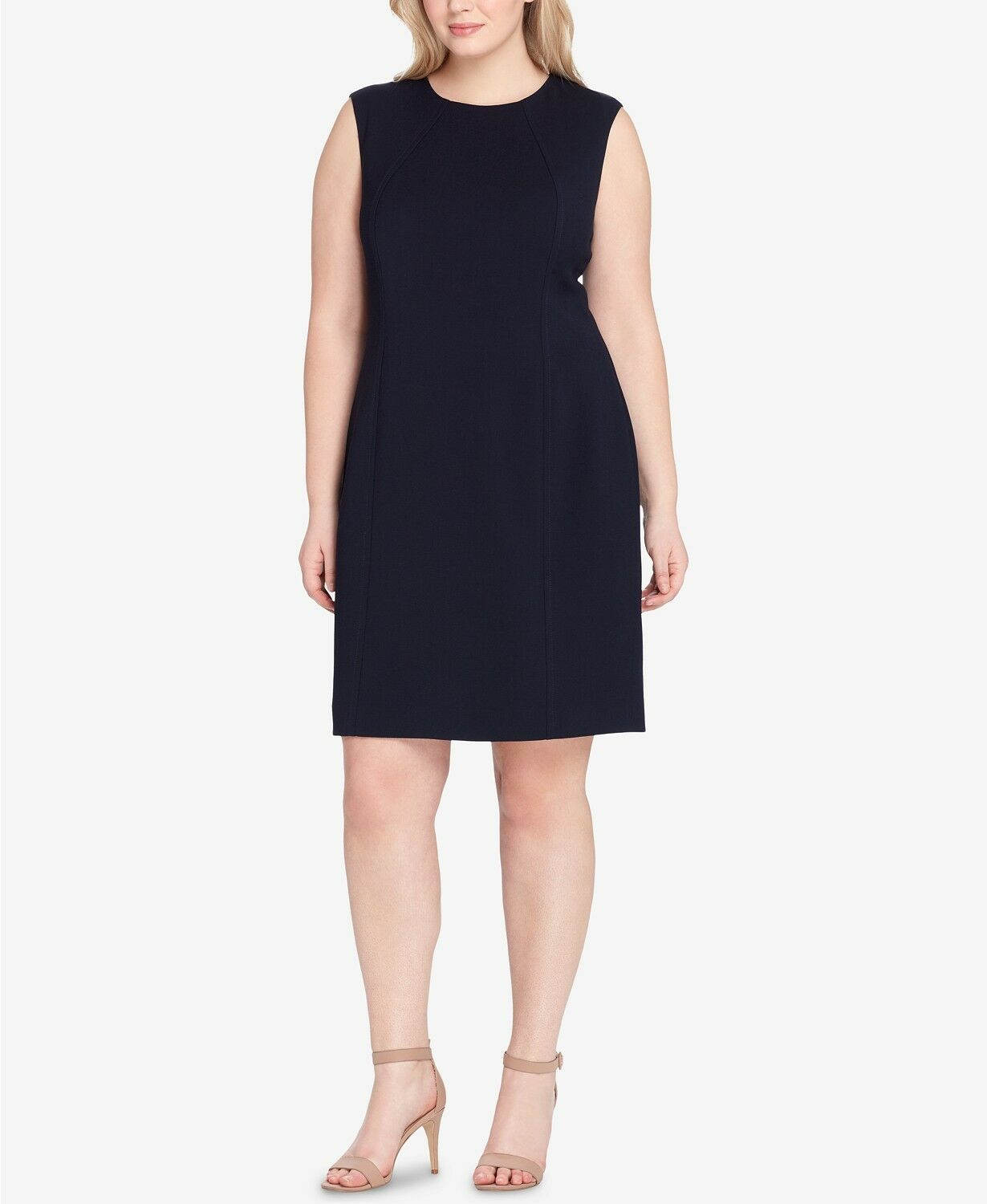 TAHARI ASL damen Blau SLEEVELESS KNEE-LENGTH SHEATH DRESS PLUS Größe 24W