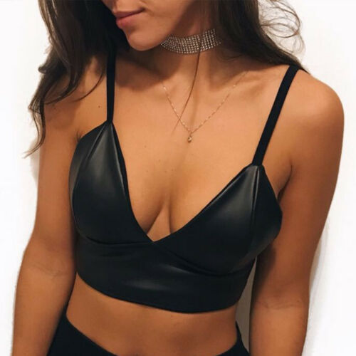 Women Faux Leather Low Cut Deep V Neck Strappy Backless Sleeveless Crop Tank Top