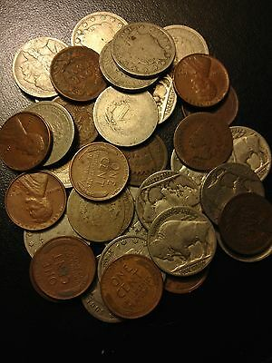 Old US Coin Lot Buffalo V Liberty Nickels Indian Wheat Penny Cents 4 Coin Set