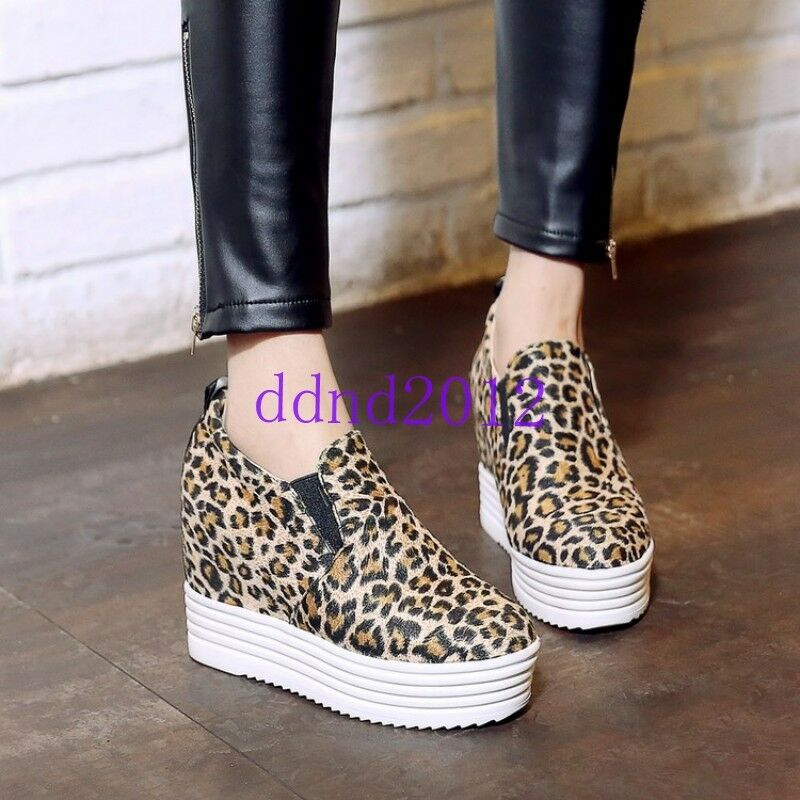 High Hidden Heels Women Platform Athletic Sneakers Pumps Ladies Faux Suede shoes