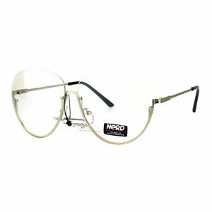 c17c199903fa5 Clear Lens Glasses Topless Half Rim Aviator Style Fashion Eyeglasses ...