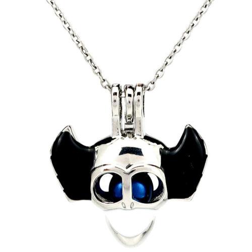 K1006 Enamel Skull Wing Halloween Pearl Beads Cage Locket Pendant Necklace