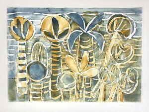 """Eduard fecondare esercito (1901-1979) con firma AQUATINTA farbradierung """"Giardino del sud"""""""