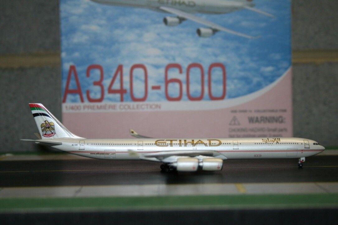 Alas de dragón 1 400 Etihad Airbus A340-600 A6-EHE (56008) Fundición Modelo de Avión
