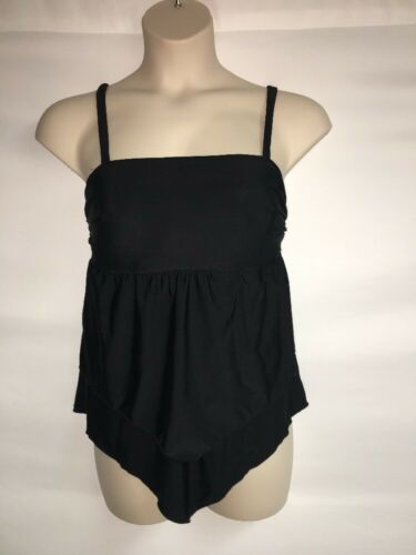 Swim By Cacique Tankini Top Size 14 Black No Wire Womens NWOT