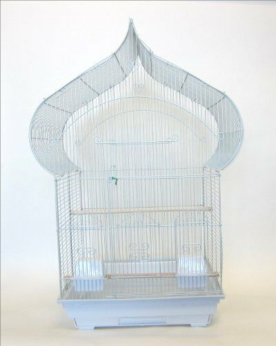5864 3 8  Bar Spacing Taj Mahal Bird Cage With Stand - 18 x14  In White