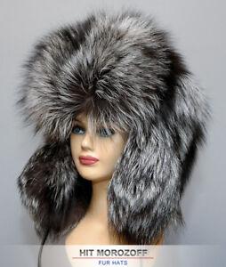 Premium SAGA SILVER FOX Fur Chapka Ushanka BIG Winter Hat Pelzmütze ... 1825a9bbe24