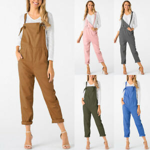 76b913ad5182 Image is loading Casual-Women-Sleeveless-Dungarees-Jumpsuits-Rompers-Long- Pants-