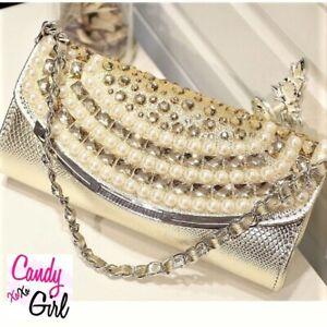 Gold Slimline Pearl Beaded Metallic Look Evening Wedding Party Clutch Bag