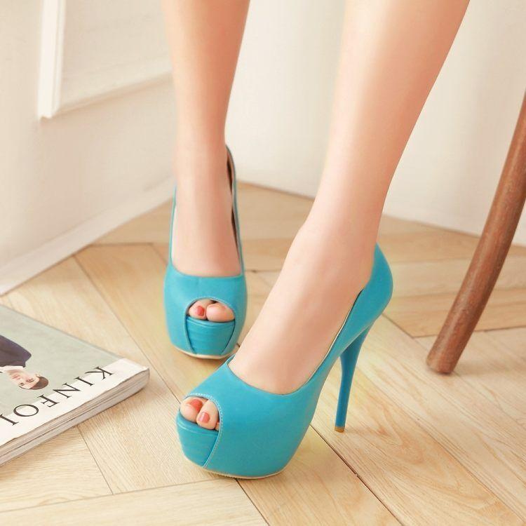 Décollte Zapatos de salón elegantes mujer talón plataforma perno plataforma talón 13.5 azul 9299 762cf3