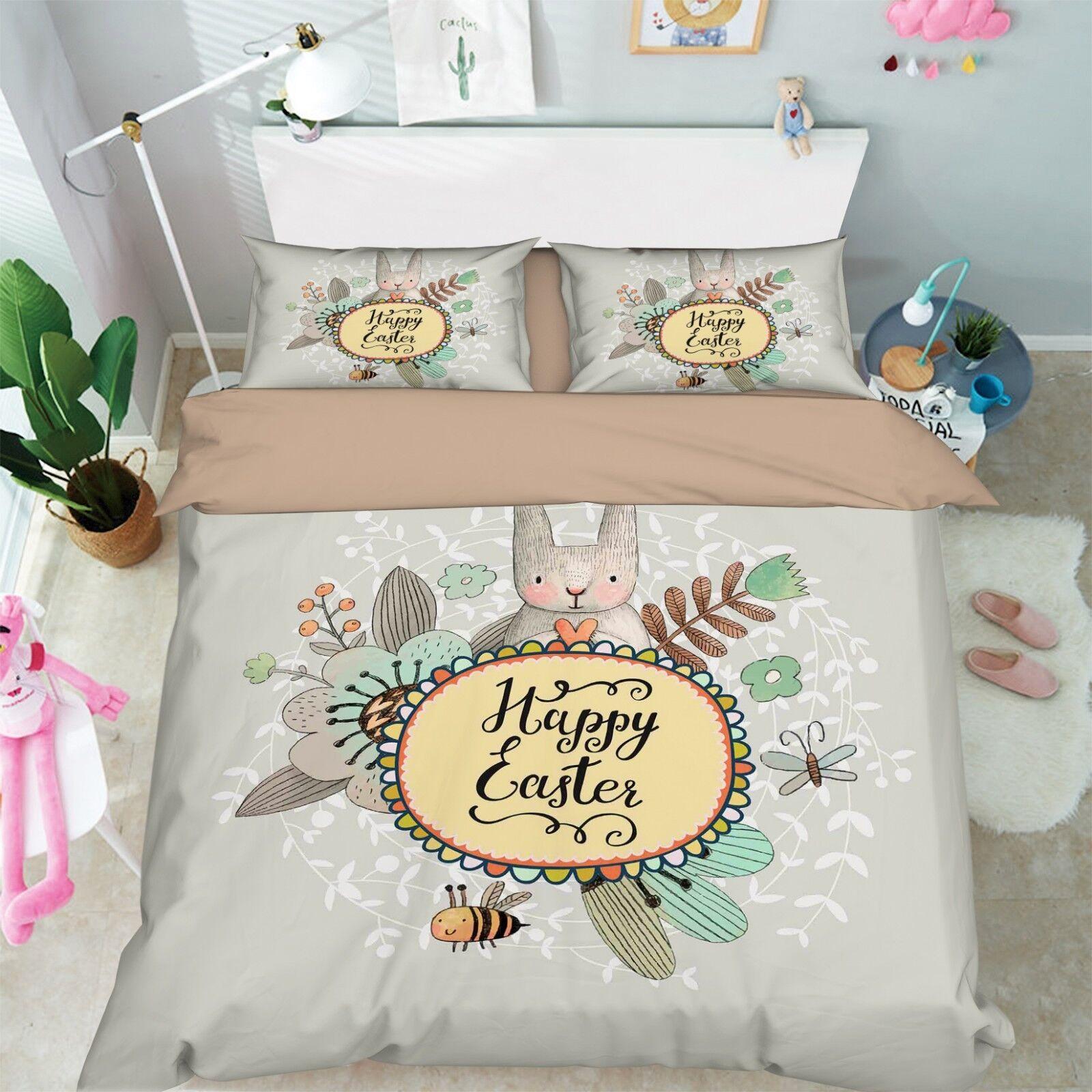 3D Rabbit Doll Kid 6 Bed Pillowcases Quilt Duvet Cover Set Single King UK Summer