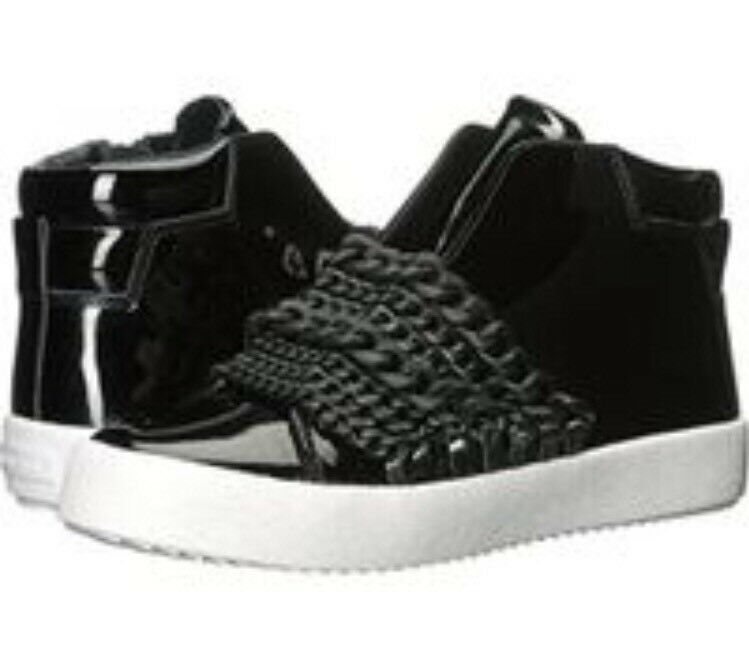 New Kendall + Kylie Women Duke Sneaker Black Black Black Patent Leather Black Chain 7.5 533c94