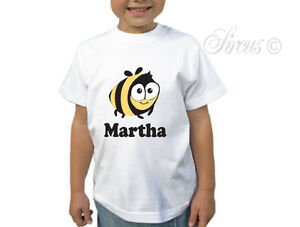 KIDS-GIRL-BOY-PERSONALISED-BUMBLE-BEE-CHILDRENS-WHITE-T-SHIRT