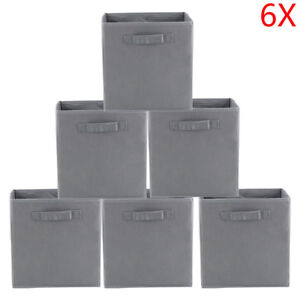 Grey-Foldable-Square-Canvas-Storage-Collapsible-Folding-Box-Fabric-Cubes-Toys