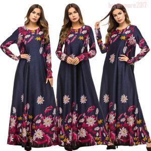 Women-Muslim-Ramadan-Abaya-Elegant-Vintage-Printed-Long-Maxi-Dress-Robe-Islamic