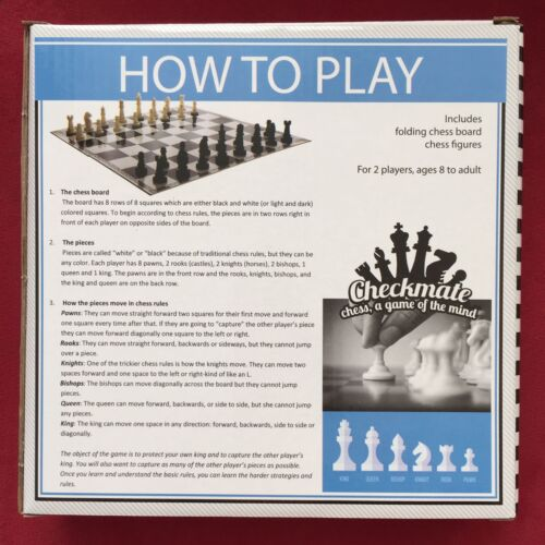 "Checkmate Folding Chess Board 12/""x12/"" with Plastic Figures 8Y+"