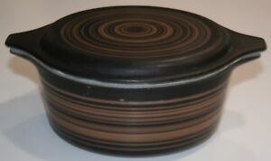 PYREX Vintage 60's TERRA OVENWARE Black/Brown Stripes Casserole Dish 1.5 Pint