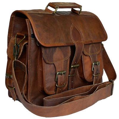 New Men/'s Genuine Vintage computer Brown Leather Messenger Shoulder Laptop Bag