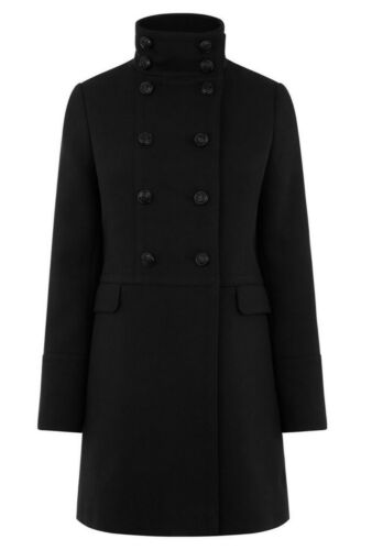 Warehouse Funnel High Neck Black Military Double Breasted Pea Coat UK 6 to 18