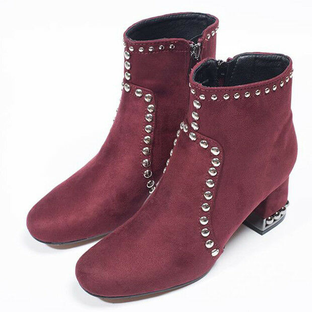 stivali stivaletti bassi scarpe anfibi 6.5 cm rosso b eleganti simil pelle 9597
