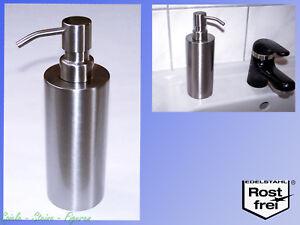 Design-Edelstahl-Seifenspender-veredelt-310ml-Pumpflasche-fuer-Fluessig-seife