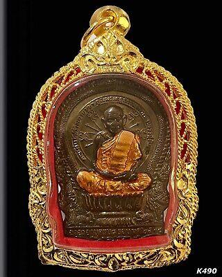 Thai Buddha Amulet LP Tuad Natural Stone Carve Pendant Gold Micron Case