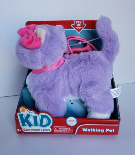 """Kid Connection Walking Purple Cat W// Sound And Remote Control Leash 9/"""" Plush"""