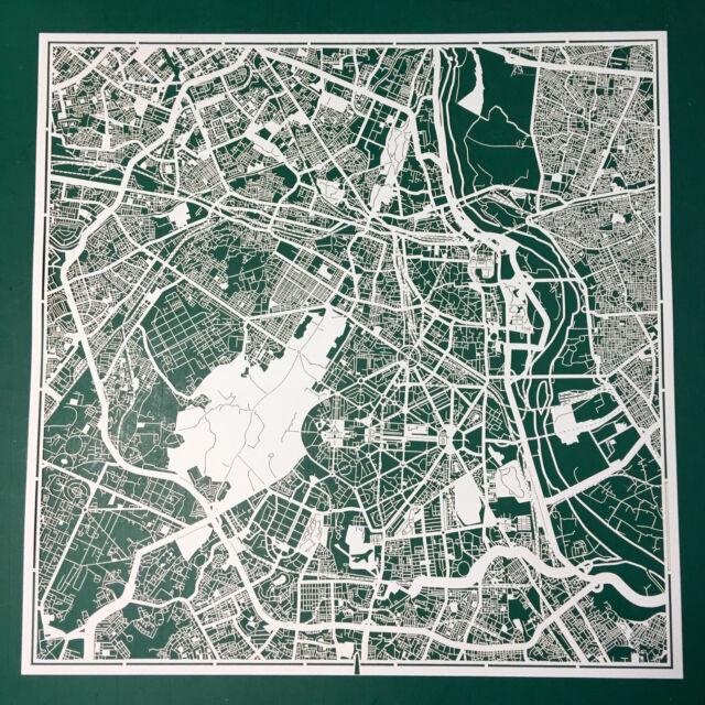 PAPER CUT MAP New Delhi, Paper Art Original Design IDEAL GIFTS 12 12In.