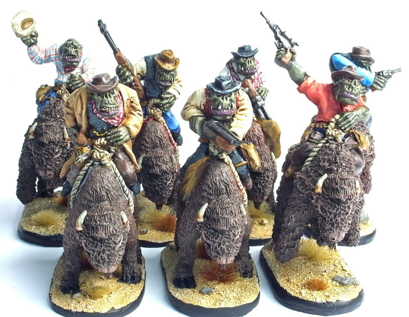 FANTASY WILD WEST SET OF 7 MOUNTED COWBOY ORCS