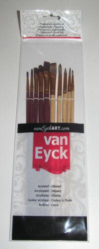 Set x10 Pinceaux Professionelles Acrylique Huile Travaux de Peinture NEUF