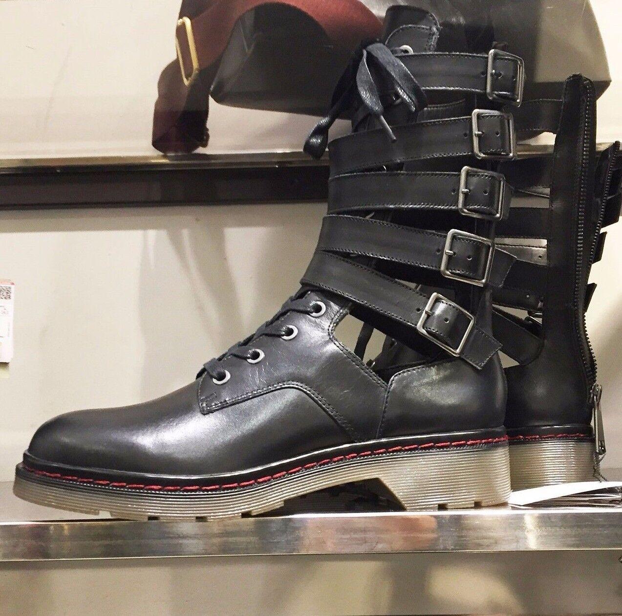 Zara Cuero Negro Militar botas botas botas al Tobillo Con Correas Y Hebillas De 37 4 1150 201 BNWT  precio mas barato