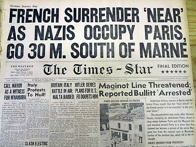 4 1940 WW II headline display newspapers PARIS France CAPTURED by ...