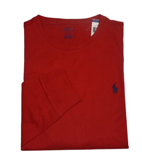 a05c259b7eed9 Polo Ralph Lauren Mens Burgundy Wine L s Cotton Crewneck T-shirt L