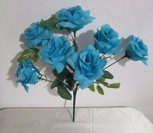 Turquoise malibu blue silk flower rose bush ebay image is loading turquoise malibu blue silk flower rose bush mightylinksfo
