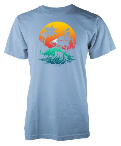 Bateau pirate Palmiers Coucher de Soleil Kids T Shirt