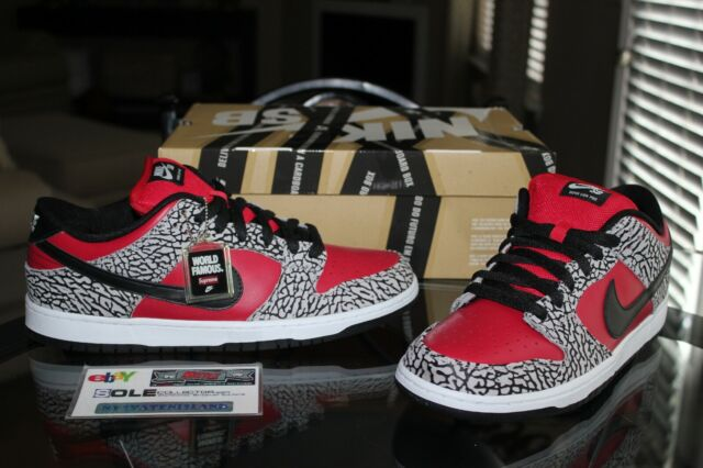 how to buy good service arrives Deadstock Nike Dunk SB Low Premium Supreme Fire Red Cement 313170-600 Size  11